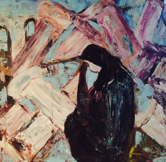 """""""Sorrow"""" 34x34 Acrylic on Canvas"""