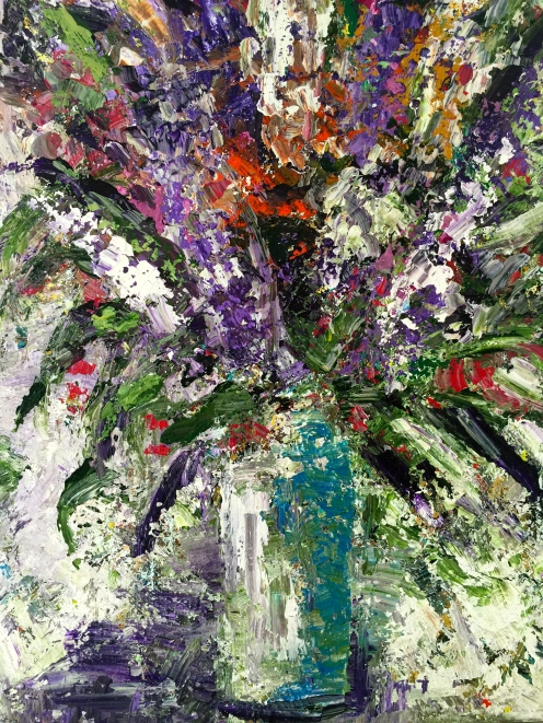 Lilacs in a Vase 36x48 Acrylic on Canvas